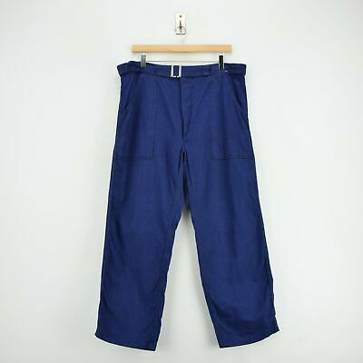 Vintage Workwear Blue French Style Work Utility Trousers 34 W 27 L