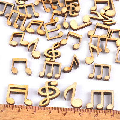 100Pcs/lot Mixed Cute Music Notes Handcrafts Wood Pieces Decor DIY 14x15mm New