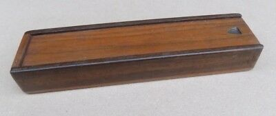 Vintage Wooden Pen / Pencil  / Stationary Box with Sliding Lid