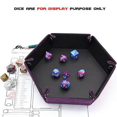 PU Leather Folding Hexagon Dice Rolling Tray Storage Box For Dice Table Game YI