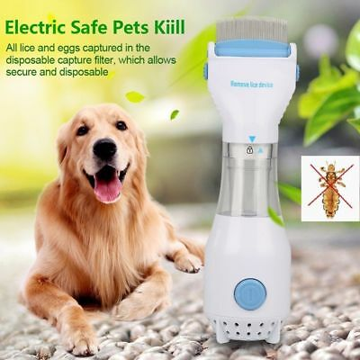 Electric Brush Comb Head Lice Vacuum Pet Dog Cleaning Capture Tool UK