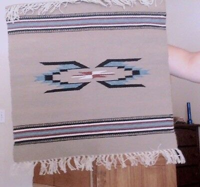 Small Light Brown and Grey Navajo Rug