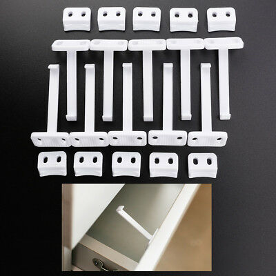10/20 Sets Child Safety Catch Cupboard Door Drawer Lock Catches w Fixing Screws