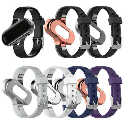 Fashion Replacement Leather Wristband Band Strap+Metal Case For Xiaomi Mi Band 3