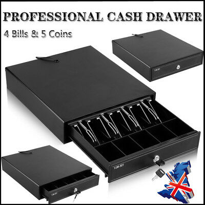 12V Heavy Duty POS Cash Drawer Register 4 Bills 5 Coins Removable Tray Till Box