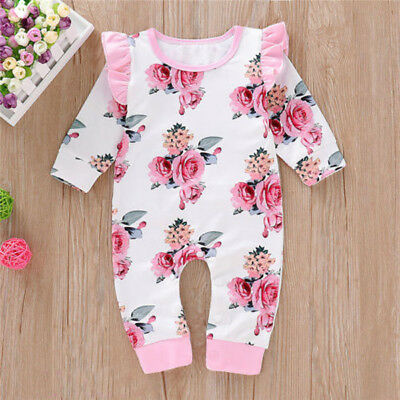 AU Newborn Infant Baby Girl Floral Romper Bodysuit Jumpsuit Outfits Clothes