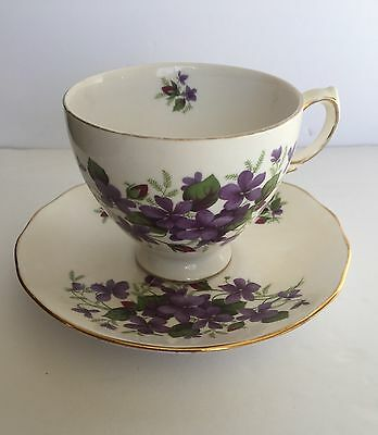 Queen Anne Fine Bone China Tea Cup and Saucer Gold Trimmed Made England Vintage
