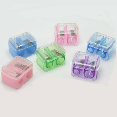 Cosmetic Pencil 2 Holes Sharpener For Eyebrow Lip Liner Eyeliner Random Color AC