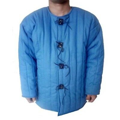 Beautiful Medieval Thick Padded Blue Gambeson Costumes Theater Sca