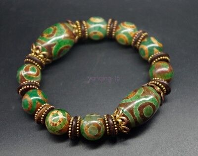 China Tibet Natural Green Agate Jade Day Bead Dzi String Bracelet