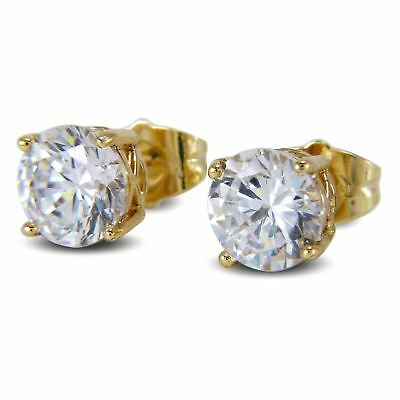 9ct Gold Filled 9mm Simulated White Diamond Stud Earrings Mens Womens