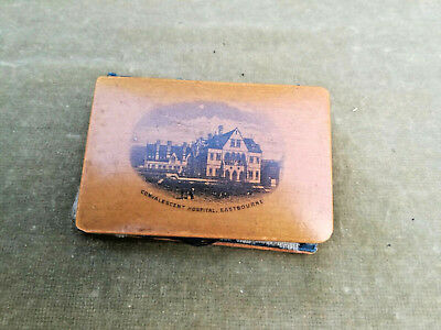 Antique Wooden Mauchline Ware Treen Sewing Needle Case Book Eastbourne Hospital