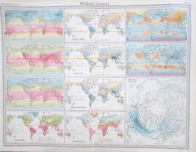 Map of the World Climate. 1922. TEMPERATURE. RAINFALL. PRESSURE.