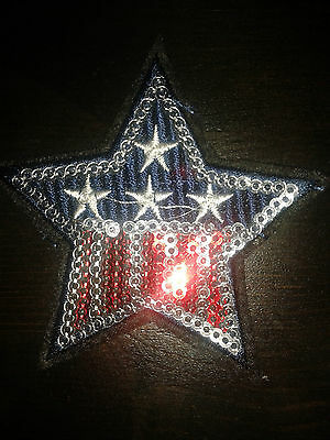 USA Stars and Stripes Sequin Iron or Sew On Patch Motif 7.5cm