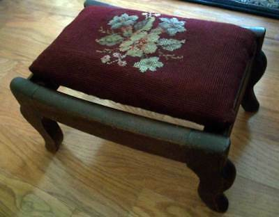 """Antique Petite Victorian Floral Burgundy Needlepoint Footstool 14"""" x 9.5"""" x 8"""""""
