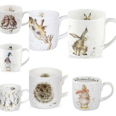 Royal Worcester Wrendale Countryside Animal Mug Gift Boxed - Hedgehog,Duck,Hare