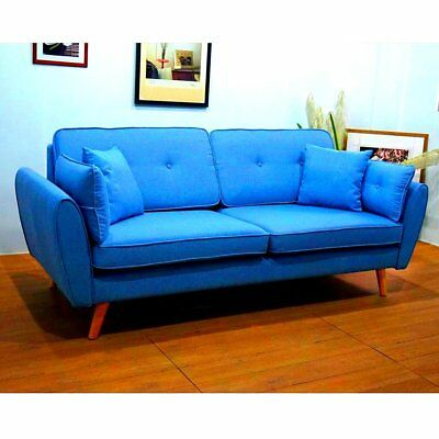 Happy Beds Monza Upholstered Fabric Retro Guest Bed Large Three Seater Sofa Blue