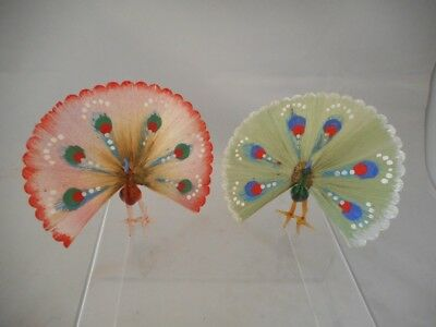 TWO Vintage Murano Glass Miniature Peacock Ornaments with Wire Decoration