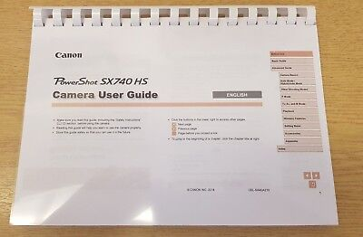 Canon Powershot Sx740 Hs Printed User Manual Guide Instructions 130 Pages A4