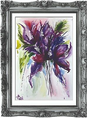 original drawing flowers painting 44BA art watercolor signed A3