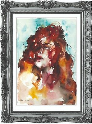 original painting art abstract woman 40BK watercolor peinture femme nue