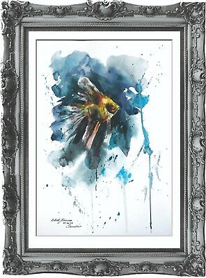 original painting art fish 289LM watercolor peinture A3