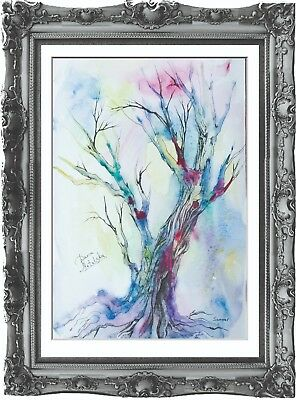 original drawing fantasy tree 36MD art arbre fantastique watercolor signed A3