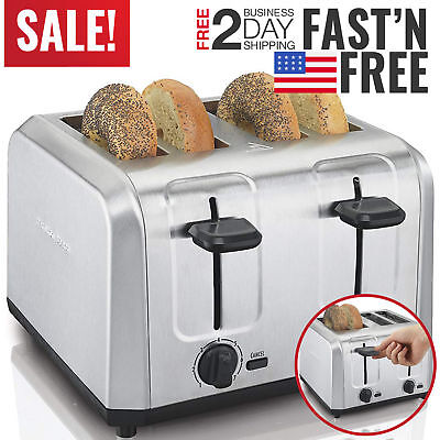 4 Slice Toaster Bread Electric Four Wide Slots Bagel Kitchen Digital Toaster