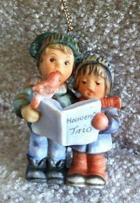 1997 Berta Hummel Heavenly Trio Ornament Porcelain Goebel Boy, Girl & Bird