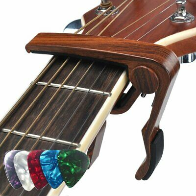 Acoustic Classic Electric Guitar Capo Wooden Clamp Quick Release With 5pcs Picks