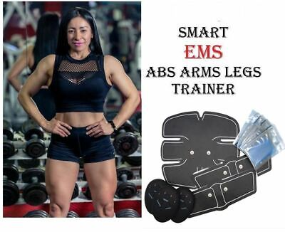 EMS Six Pack Pad ABS Fit Pro Smart Muscle Stimulator Fat Exerciser Women GelPad