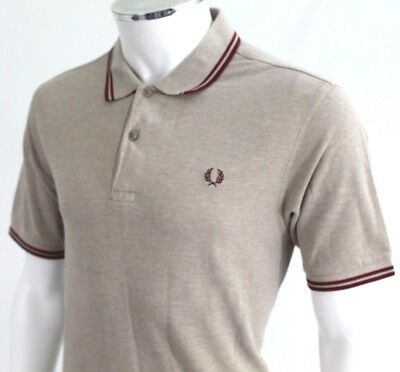 Fred Perry Mens L Large 42 Off white beige heavy cotton polo shirt red