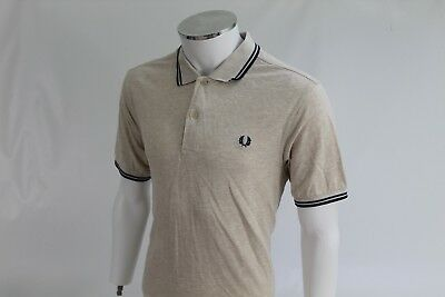 Fred Perry Mens L Large 42 Off white beige heavy cotton polo shirt blue green