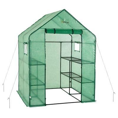 56 in. W x 56 in. D Deluxe Walk-In 2 Tier 8 Shelf Portable Lawn and Garden Green