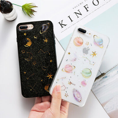 For iPhone XR XS Max X Shockproof Bling Cute Star Clear Case Soft Rubber Cover