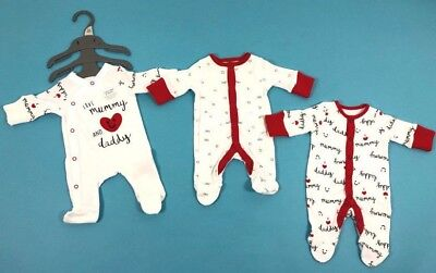 Ex Mothercare Baby Boys Girls I Love Mummy Daddy Sleepsuits x 3 Age N/B 3 6 Mths