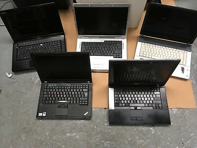 Joblot Of 5 Laptops, All Missing Parts, Sold As Faulty, Untested