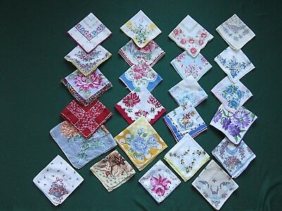 Nice Lot 24 Vintage Colorful Floral Ladies Hankies Handkerchiefs Very Good Cond
