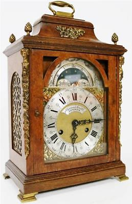 Antique English Walnut & Bronze Bracket Clock Bell Striking jppowoo Mantel Clock