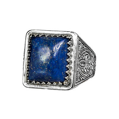 Gerochristo 2576N ~ Sterling Silver & Lapis Lazuli Medieval Cocktail Ring