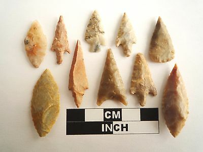 Neolithic Arrowheads x 10, High Quality Selection of Styles - 4000BC - (1086)