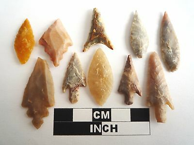 Neolithic Arrowheads x 10, High Quality Selection of Styles - 4000BC - (1087)