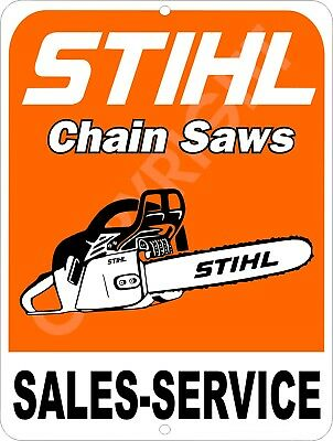 "STIHL Chain Saw Sales & Service 9"" x 12"" Metal Tin Aluminum Sign"