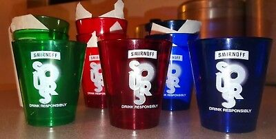 Set of 12 Smirnoff Sours Acrylic Shot Glasses **NEW** Red, Blue & Green