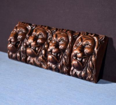 *Set of 4 French Antique Highly Carved Lion Faces in Walnut Wood Trim