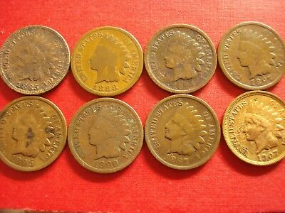 8 Indian Head Cents 85,88,94,95,87,99,07