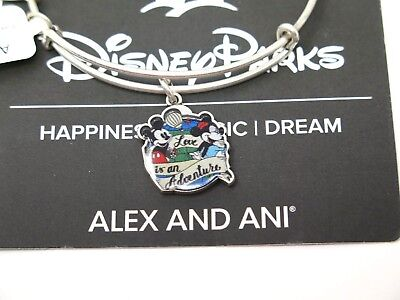 Disney Alex and Ani Love is an Adventure Bracelet Silver Mickey Minnie Bangle