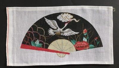 Hand-painted Needlepoint Canvas Asian Fan With White Crane