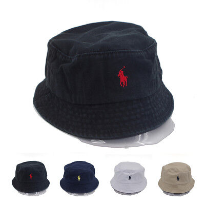 68ea3faf Unisex Bucket Hat Polo Casual Flat Basin Cap Cotton Small Pony For Outdoor  Sport