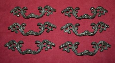 """French Provincial Brass Drawer Pulls Set of 6 Victorian Scroll Dresser Pulls 3"""""""